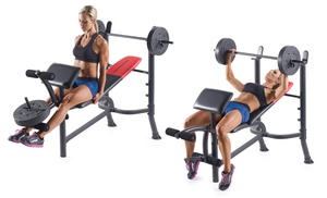 Weider Pro 265 Adjustable Weight Bench With 80 Lb Weight Set Groupon