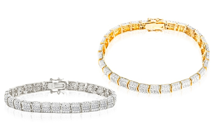 Diamond Accent Tennis Bracelet with 18K Gold Plating