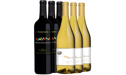 Hopskotch Chardonnay & Blockheadia Cabernet Wine Set (6-Piece). Shipping Included.