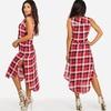 Juniors' Sleeveless Button-Up Plaid Dress