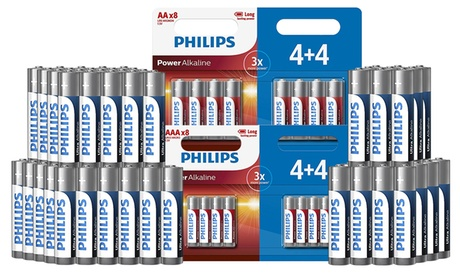 3, 4 o 6 packs de 8 pilas alcalinas Phillips AA y AAA o pilas Phillips Ultra Alkaline AA LR6