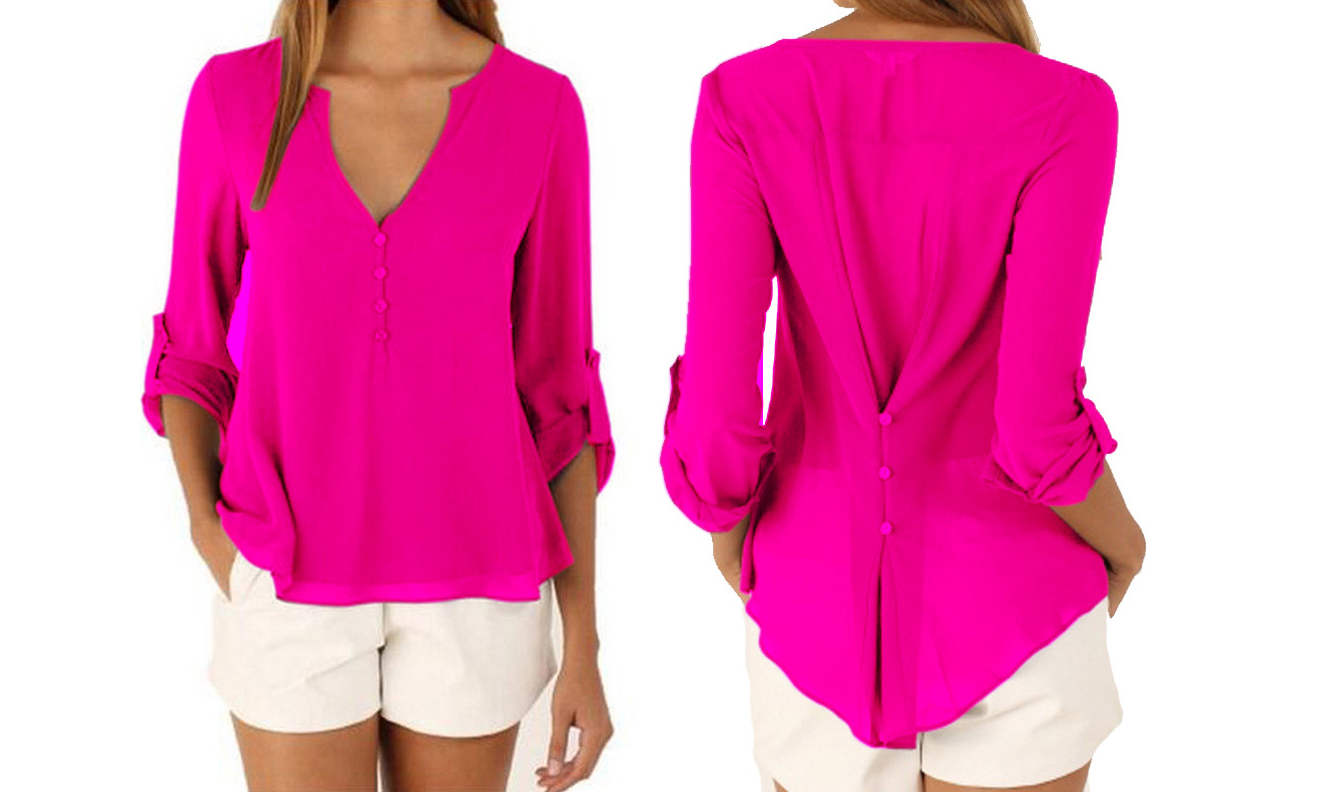 Button Back Chiffon Blouse in Choice of Seven Colours and Six Sizes From £9.98