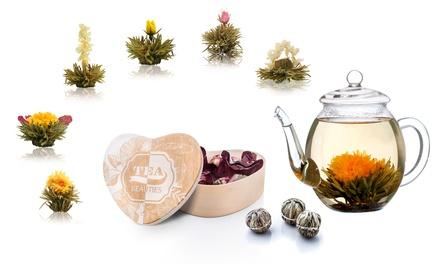 Tè bianco fiorito o tè verde classico Sencha Creano in box di legno con o senza teiera in vetro trasparente