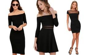 (Mode)  Robes noires empiècements mesh -77% réduction