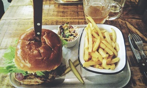 Barley Mow: Burger or Hot Dog and a Glass of Wine or Pint of Beer for Two or Four at Barley Mow (Up to 60% Off)