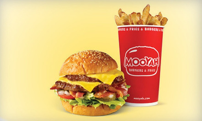 Mooyah - Multiple Locations: Burger Meal for Two or Four with Burgers, Fries, and Soft Drinks at Mooyah (Up to 52% Off)
