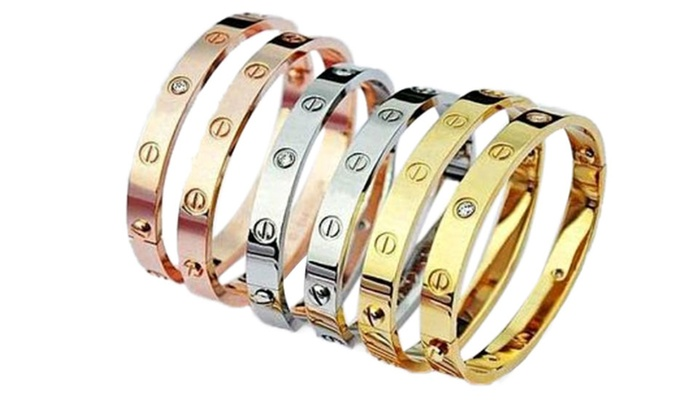 Deal genie - Merchandising (AE): Gold-Plated Love Bangle With Screwdriver in Choice of Colours from AED 49 (Up to 62% Off)