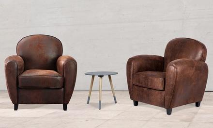 fauteuil club microfibre marron livraison offerte deals. Black Bedroom Furniture Sets. Home Design Ideas