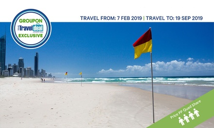 ✈ Gold Coast: Per Person, Quad Share Nights with Flights, Wine & Boogie Board Hire at 4* Breakers North