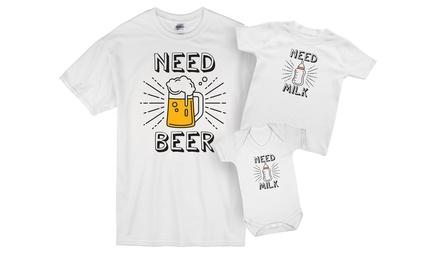 Need Beer Need Milk Matching Dad and Baby Set