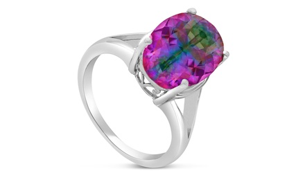 6.00 CTW Oval Mystic Topaz Ring in Solid Sterling Silver