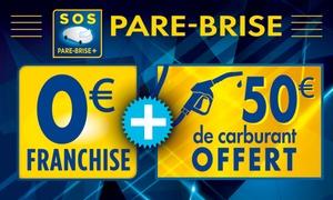 Sos Pare Brise Plus: Remplacement du pare-brise à 0 € de franchise avec 50 € de carburant offert à 5 €chez Sos Pare Brise Plus