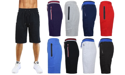 Men's Fleece Lounge Sweat Shorts with Zipper Pockets & Trim Design (S-XL)