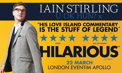 "image for Iain Stirling Stand Up Comedy Show ""U Ok Hun? X"" on 22 March at Eventim Apollo (Up to 58% Off)"