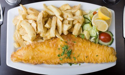 Cod with Chips for One or Two with Optional Wine at George's Fish & Souvlaki Bar (Up to 40% Off)