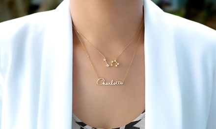 Custom Zodiac Nameplate Necklaces from Monogramhub (Up to 89% Off). Six Options Available.