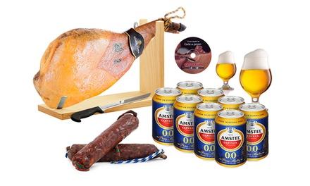 Set Gourmet jambon d'épaule, charcuterie, support, couteau et bière sans alcool