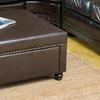 Cressida Square Brown Leather Storage Ottoman