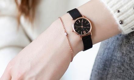 Orologio da donna Paul McNeal con cinturino a rete o in vera pelle e garanzia di 2 anni, disponibile in vari modelli