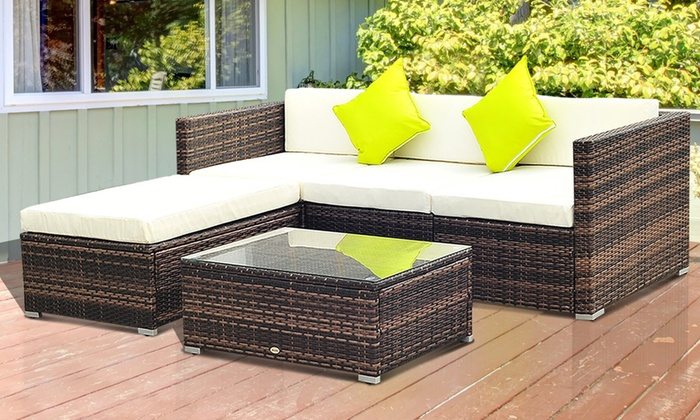 Outsunny 5PC Rattan Furniture Set