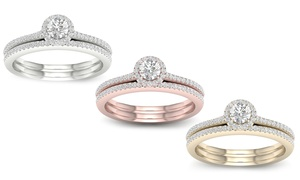 3/8 CTTW Diamond Halo Bridal Wedding Ring Set in 10K Gold by De Couer