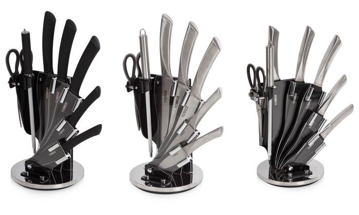tower knife set with stand groupon goods. Black Bedroom Furniture Sets. Home Design Ideas