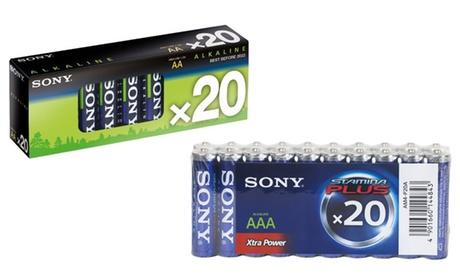 Hasta 60 pilas multiusos Sony de tipo AA, AAA o ambos