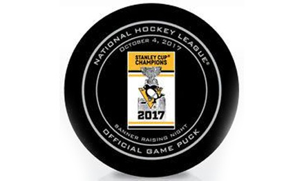 Pittsburgh Penguins 2017 Banner Raising Official Game Puck at Total Sports Enterprises