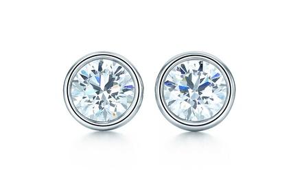 Bezel-Set CZ Stud Earrings