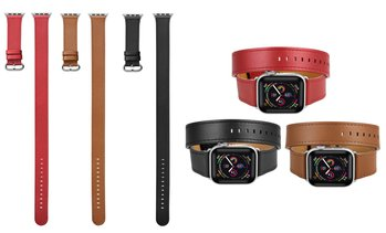 Posh Tech Double-Wrap Leather Band for Apple Watch Series 1-5