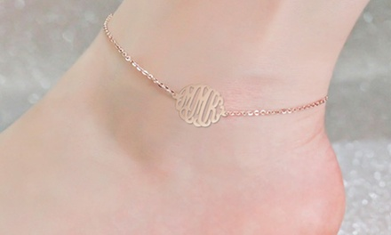 One or Two Custom Sterling Silver Monogram Anklets from NameJewelrySpot (81% Off)