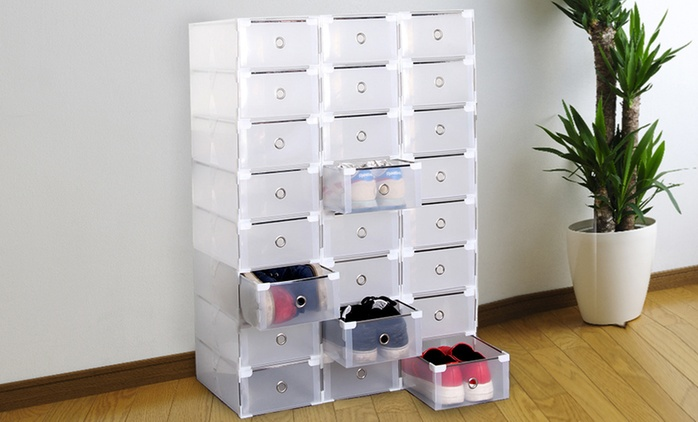 8 or 16 Transparent Foldable and Stackable Shoe Storage Boxes