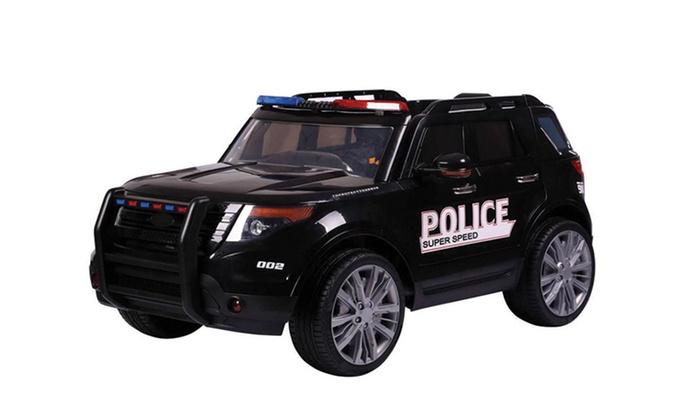 voiture lectrique enfant police groupon shopping. Black Bedroom Furniture Sets. Home Design Ideas