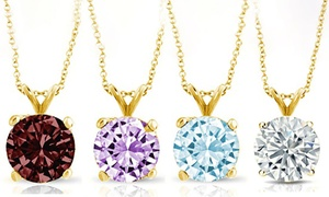 14K Gold Round-Cut 1.00 CTW Gemstone Pendant Necklaces by Pori