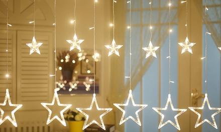 1 of 2 lichtgevende gordijnen met 12 sterren