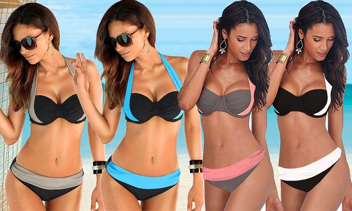 Ever Mercantile Limited: $19 for a Halter Contrast Colour Bikini Set in Choice of Colour