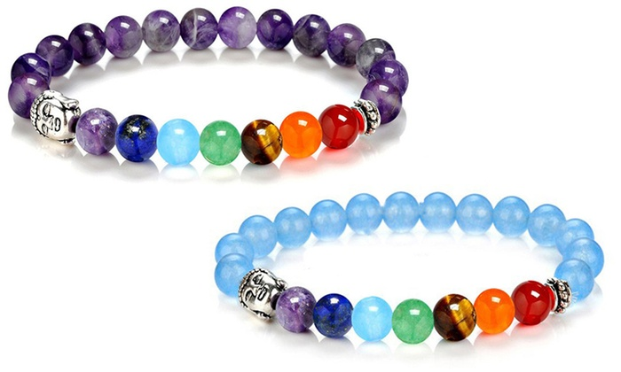 Groupon Goods Global GmbH: Natural Stones Bead Bracelets in Choice of Colour