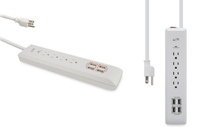 iLive 4-Outlet Surge Protector with 4 USB Ports