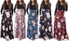 Women's Floral Skirt Maxi Dress w/ Long Sleeves. Plus Sizes Available.