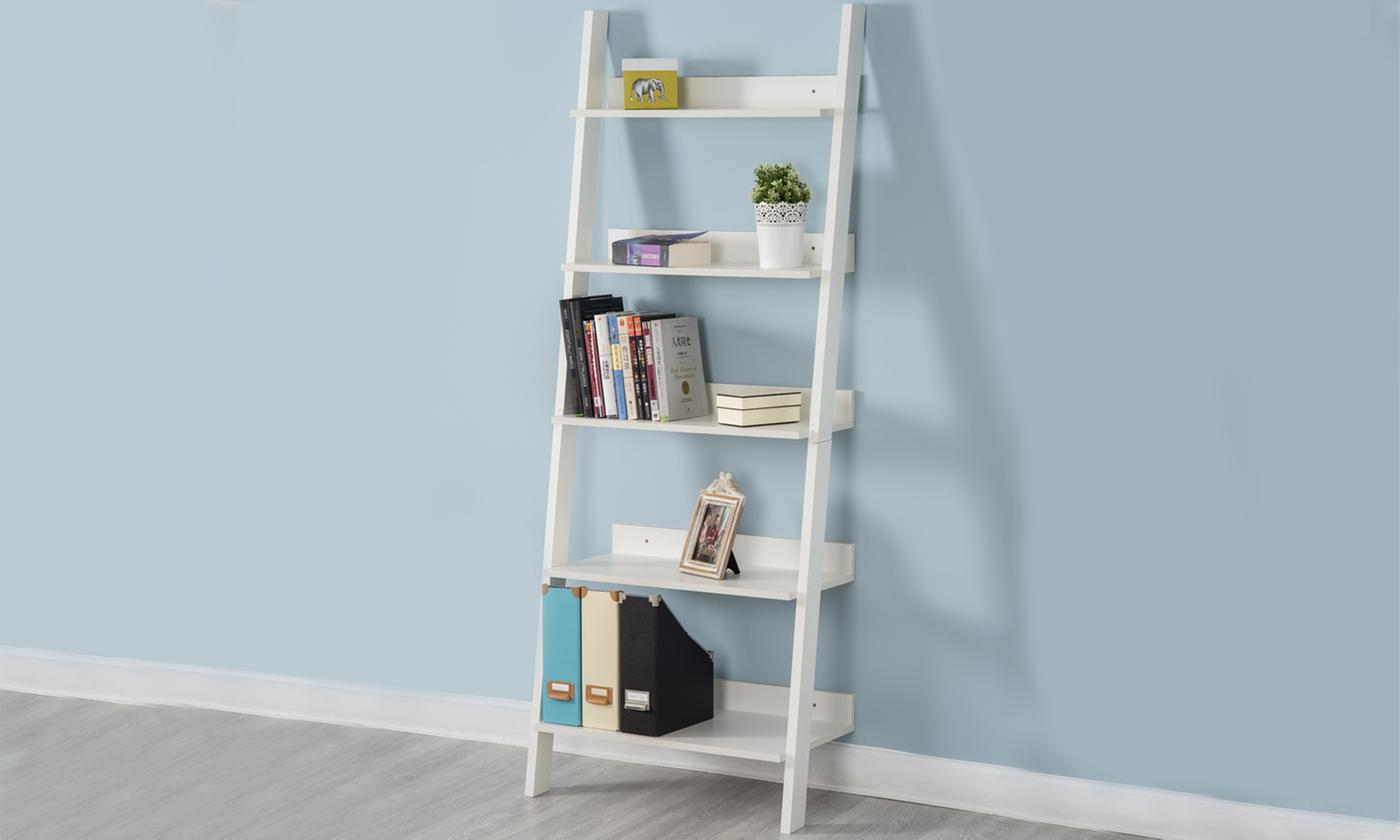 Five-Tier Ladder Bookcase Shelf In Black Or White From £32
