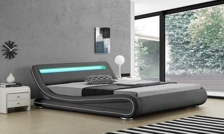 Lit LED design avec ou sans matelas, taille et coloris au choix