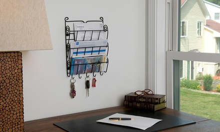 Evelots 3-Tier Wall Mounted Letter Rack with Key Hooks