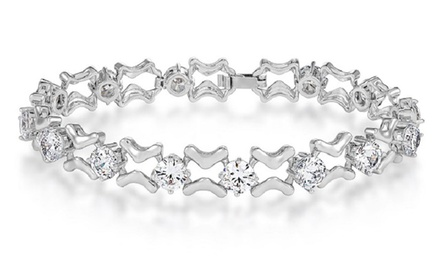 Clear Simulated Sapphire Multi-Linked Bracelet