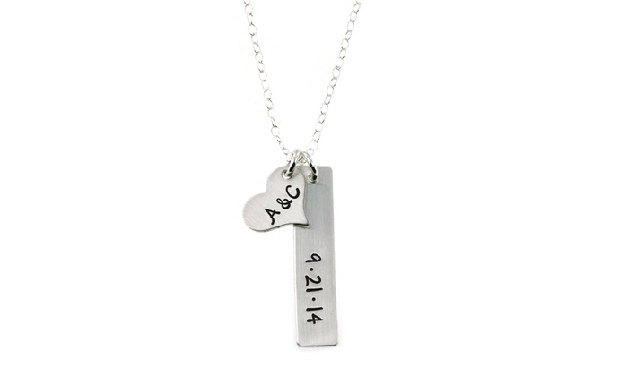 Hannah Design: Hannah Design Initials and Date Sterling Silver Necklace