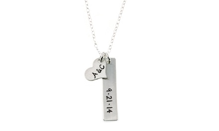 Hannah Design Initials and Date Sterling Silver Necklace
