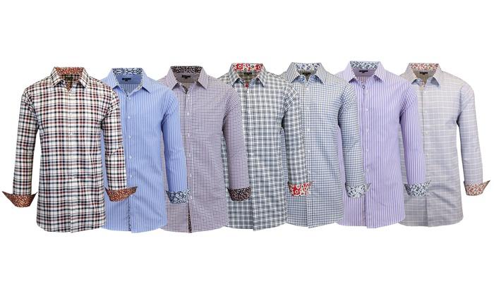 Men 39 s oxford dress shirts groupon goods for Oxford vs dress shirt