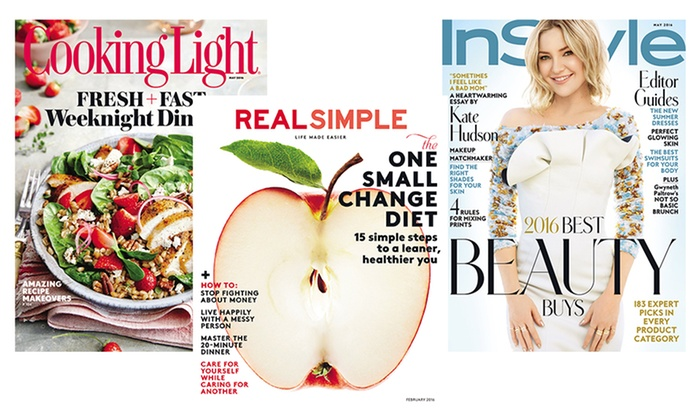 Real Simple, InStyle, Cooking Light, and Other Lifestyle Magazines. 16 Titles Available.