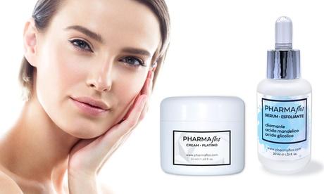1 o 2 kit Lusso luxury Pharmaflos con crema viso al platino e siero peeling con polvere di diamante