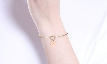 18K Rose Gold Plated Love Knot Initial Letter Bangle by Diane Lo'ren
