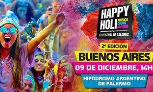 Happy Holi: $225 en vez de $450 por entrada para Festival de Colores Happy Holi en Hipodromo de Palermo
